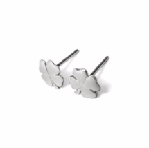 Four Leaf Clover Stud Earrings, 925 Sterling Silver, Lucky Clover Studs - $12.50