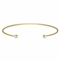 Thin Gold Dual Crystal Gemstone Bracelet, Gold Plated Stacking CZ Cuff - $7.00
