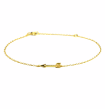 Delicate Gold Arrow Bracelet, Tiny Gold Chain Arrow Bracelet - $15.65