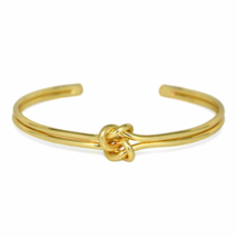 Gold Double Knot Cuff Bracelet, Infinity Love Knot Bracelet, Bridesmaid ... - $10.00