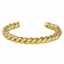 Gold Twisted Cuff Bracelet, Stacking Bracelets, Gift Ideas - $10.00