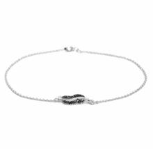 Tiny Silver Feather Bracelet, Solid 925 Sterling Silver Bracelet - $13.85