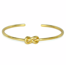 Gold Eternity Knot Cuff Bracelet, Adjustable Gold tone Infinity Love Kno... - $9.50