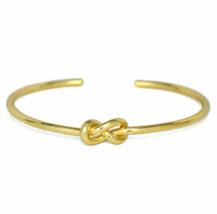 Gold Eternity Knot Cuff Bracelet, Adjustable Gold tone Infinity Love Kno... - $9.50