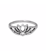Silver Lotus Flower Ring, Solid 925 Sterling Silver Ring, Flower Jewelry - $9.85