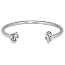 Silver Dual Knotted End Cuff Bracelet, Double Knot Bracelet, Bridesmaid ... - $10.00