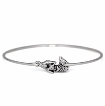Silver Mermaid  Bracelet, Silver Plated Mermaid Charm Bangle Bracelet - $7.00