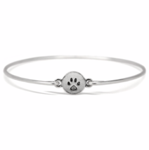 Silver Puppy Paw  Bangle Bracelet, Thin Silver Plated Dog Paw Imprint Br... - $7.00
