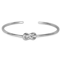 Silver Eternity Knot Cuff Bracelet, Adjustable Silver Tone Infinity Love... - $9.50