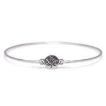 Silver Compass Bracelet, Thin Silver Plated Compass Bangle Bracelet - $7.00
