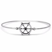 Silver Sailor's Ship Wheel Bracelet, Thin Band Silver Plated Wheel Bangle - $7.00