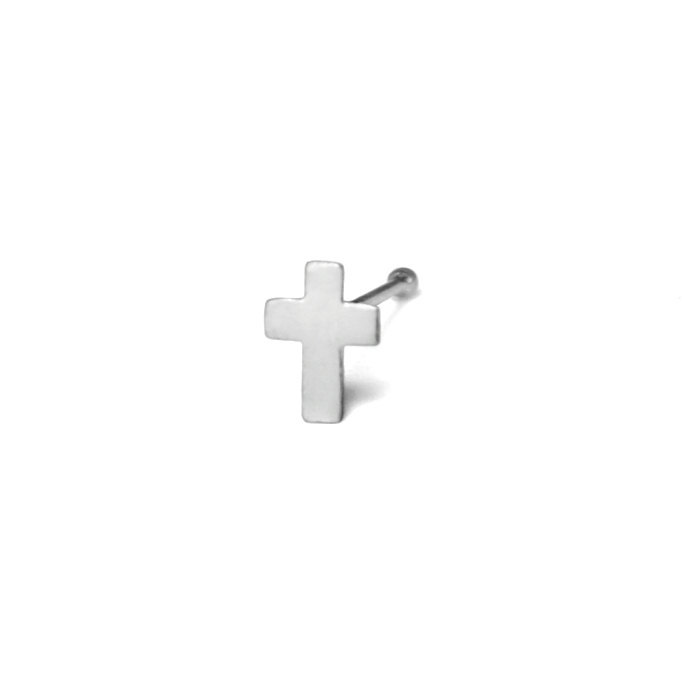 Silver Cross Nose Stud, 925 Sterling Silver Jewelry, Tiny Cross Design Nose Pin