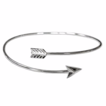 Adjustable Silver Arrow Bangle Bracelet, Thin Silver/Gold Plated Arrow B... - $7.00