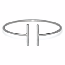 Sterling Silver Double T Bar Bangle Bracelet, Solid 925 Sterling Silver ... - $25.95