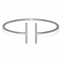 Sterling Silver Double T Bar Bangle Bracelet, Solid 925 Sterling Silver ... - $25.95