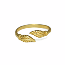 Gold Dual Leaves Ring, Gold Double Leaves Midi Ring, Gifts for Her - $13.50