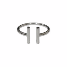Modern Sterling Silver Double  Bar Ring, Simple Minimalist Silver Bars Ring - £11.12 GBP