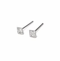Square April Birthstone Stud Earrings, Tiny 925 Sterling Silver Crystal CZ  - $8.65+