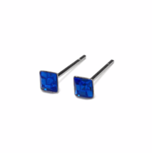 Square September Birthstone Stud Earrings, Tiny 925 Sterling Silver Blue Studs - $8.65+