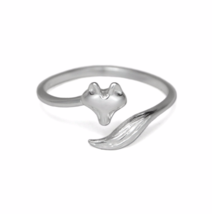 Silver Fox Ring, Solid 925 Sterling Silver, Adjustable Open Fox Ring - £9.93 GBP