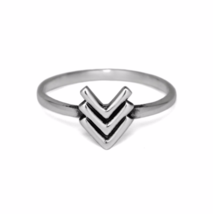 Silver Triple V Chevron Ring, Thin Solid 925 Sterling Silver Simple Ring... - £11.91 GBP