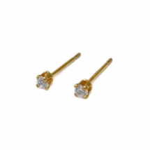 Tiny Round Gold Cubic Zirconia Stud Earrings, 24K Gold Plated Clear Brilliant CZ - $7.45+