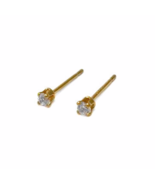 Tiny Round Gold Cubic Zirconia Stud Earrings, 24K Gold Plated Clear Bril... - $7.45+