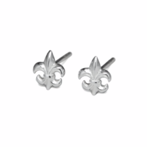 Silver Fleur De Lis Stud Earrings, Solid 925 Sterling Silver, Royal Flower Studs - $10.00