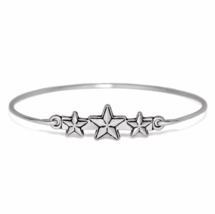 Silver Triple Star Bangle Bracelet, Thin Silver Plated Three Stars Bracelet - $7.00