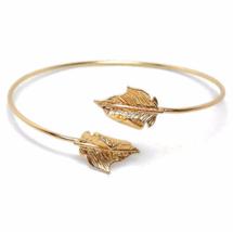 Thin Gold Adjustable Leaf Cuff Bracelet, Minimalist Nature Bangle Bracelet - $10.00