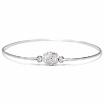Silver Rose Flower Bangle Bracelet, Thin Silver Plated Flower Bracelet - $7.50
