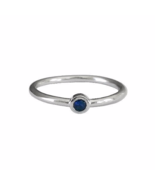Thin Sterling Silver Round Cut Deep Blue Ring, 925 Sterling Silver Ring - $14.50
