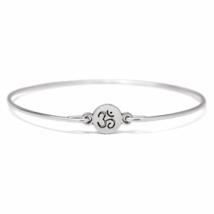 Silver Ohm Charm Bangle Bracelet, Silver Plated Ohm Bracelet, Silver Bangle - $7.00