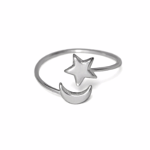 Adjustable Silver Star and Moon Ring, Solid 925 Sterling Silver Ring - $12.00