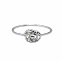 Silver Wrapped Rose Flower Ring, Dainty 925 Sterling Silver Ring, Flower... - $13.85