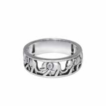 Silver Walking Elephant Ring, Solid 925 Sterling Silver Band Ring, Lucky... - $17.85