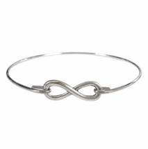 Thin Silver Infinity Bracelet, Silver Plated Eternity Charm Bangle Bracelet - $7.00
