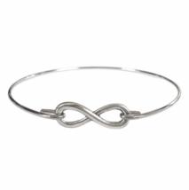 Thin Silver Infinity Bracelet, Silver Plated Eternity Charm Bangle Bracelet - $7.00