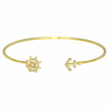 Thin Gold Anchor and Nautical Wheel Bracelet, Adjustable Open Gold Plate... - $7.00