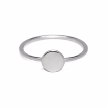 Thin Band Sterling Silver Full Moon Ring, Thin 925 Sterling Silver Dot D... - $12.50