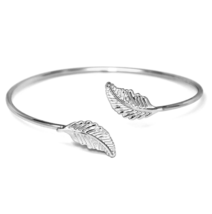 Adjustable Silver Open Double Leaf Cuff Bracelet, Minimalist Nature Bangle  - $10.00