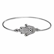 Silver Hamsa Bangle Bracelet, Silver Plated Fatima Hand Bracelet, Silver... - $6.00