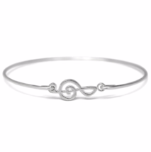 Thin Silver Treble Clef Bracelet, Silver Plated Music Charm Bangle Bracelet - $7.00