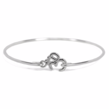 Silver Om Bangle Bracelet, Silver Plated Ohm Bracelet, Silver Bangle, Gi... - $7.00