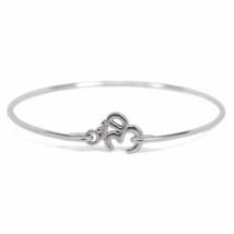 Silver Om Bangle Bracelet, Silver Plated Ohm Bracelet, Silver Bangle, Gi... - $7.00