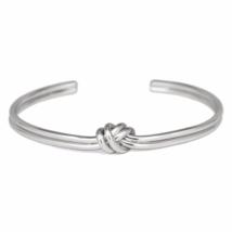 Silver Tied Knot Cuff Bracelet, Adjustable Silver tone Love Knot Bracelet - $9.50