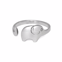 Adjustable Silver Elephant Ring, Solid 925 Sterling Silver Rings, Animal... - $13.50