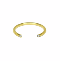 Gold Dual Rhinestone Cuff Ring,  Thin Open 18K Gold Double Stone Engagem... - £13.38 GBP