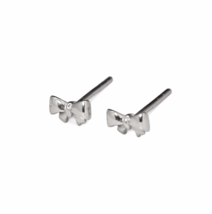 Teeny Tiny Sterling Silver Ribbon Bow Stud Earrings, 925 Silver Tied Bow Earring - $12.65