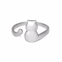 Sterling Silver Cat Ring, Adjustable Band 925 Sterling Silver Ring, Kitt... - £10.72 GBP
